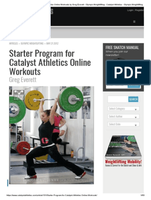 Starter Program for Catalyst Athletics Online Workouts by Greg