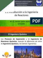 1.1 Introducción a La Ingenieria de Reactores