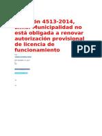 Casación 4513-2014-Lima- Municipalidad No Está Obligada a Renova