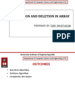 Insertion and Deletion in Arrays