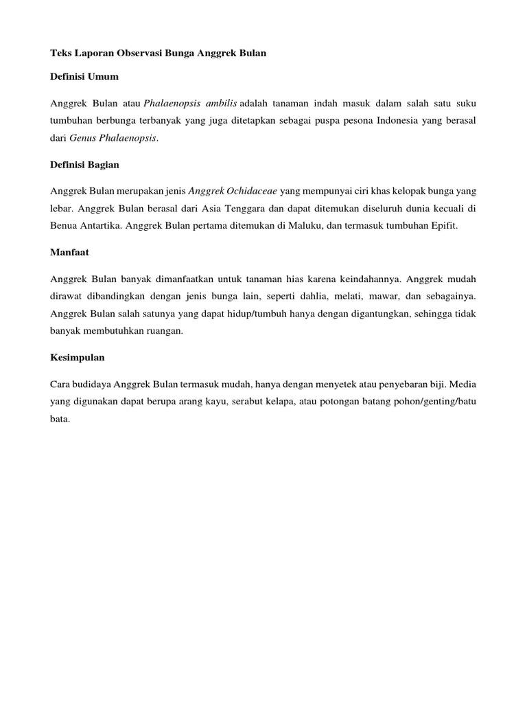 Contoh Teks Laporan Hasil Observasi Tumbuhan Melati Kumpulan Contoh Laporan