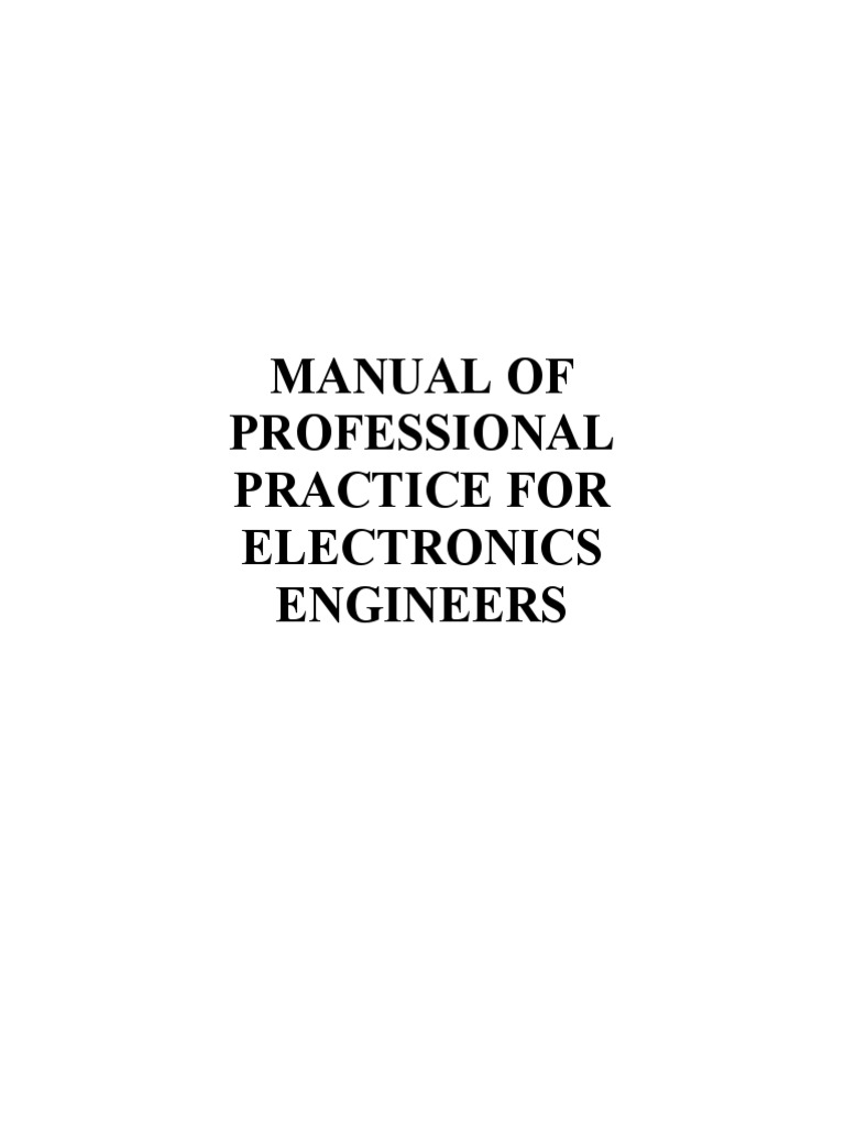 Manual of Professional Practice for Electronics Engineers