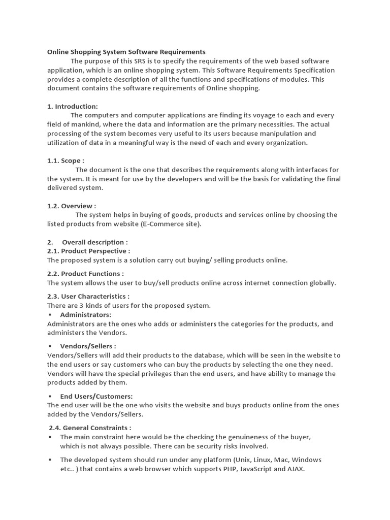 srs document for amazon