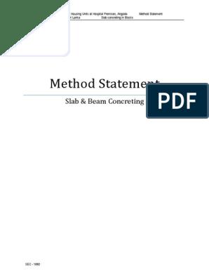 Method Statement Slab & Beam Concreting | Concrete | Civil