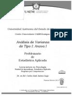 Análisis de Varianza de Tipo I. Carlos Saúl Juárez Lugo