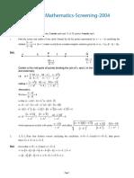 Papers Mathematics Screening 2004
