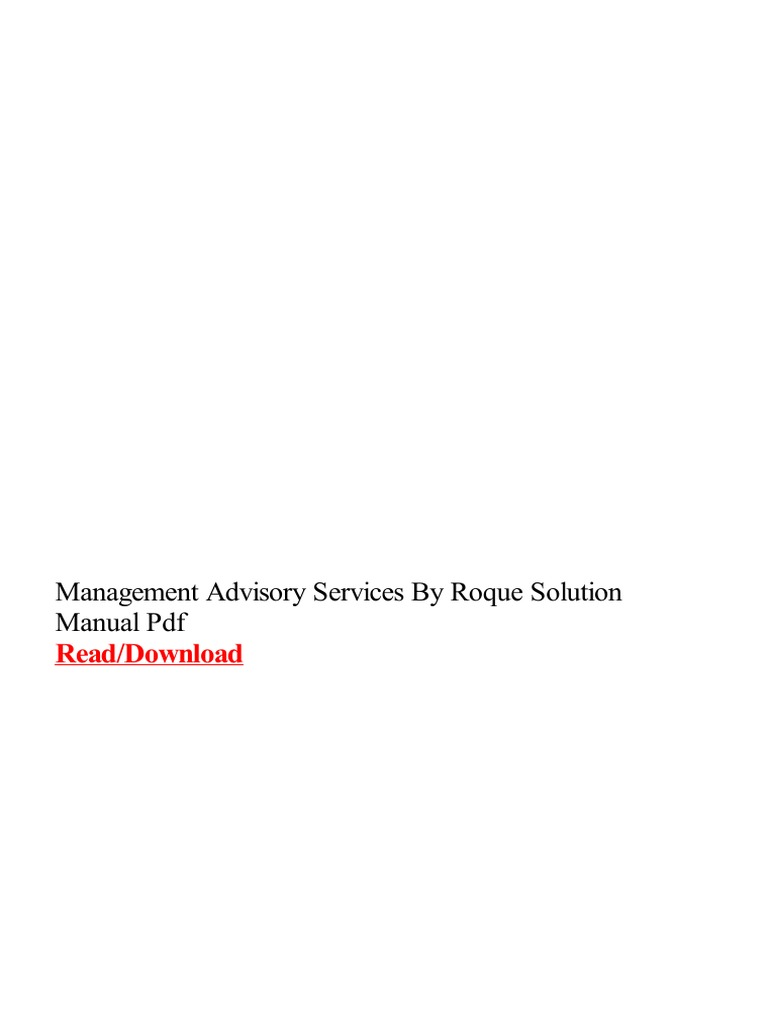 Management Advisory Services By Roque Solution Manual Pdf