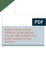 II. Komunikasi Antar Pribadi, Dalam Organisasi Dan Lintas Budaya