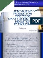 Materia Prima y Productos Tipicos de Una Torre de Destilacion