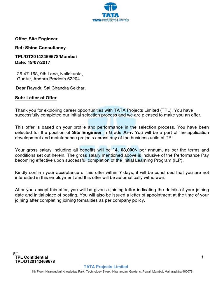 Tata Projects Offer Letter for Rayudu Sai Chandra Sekhar pdf