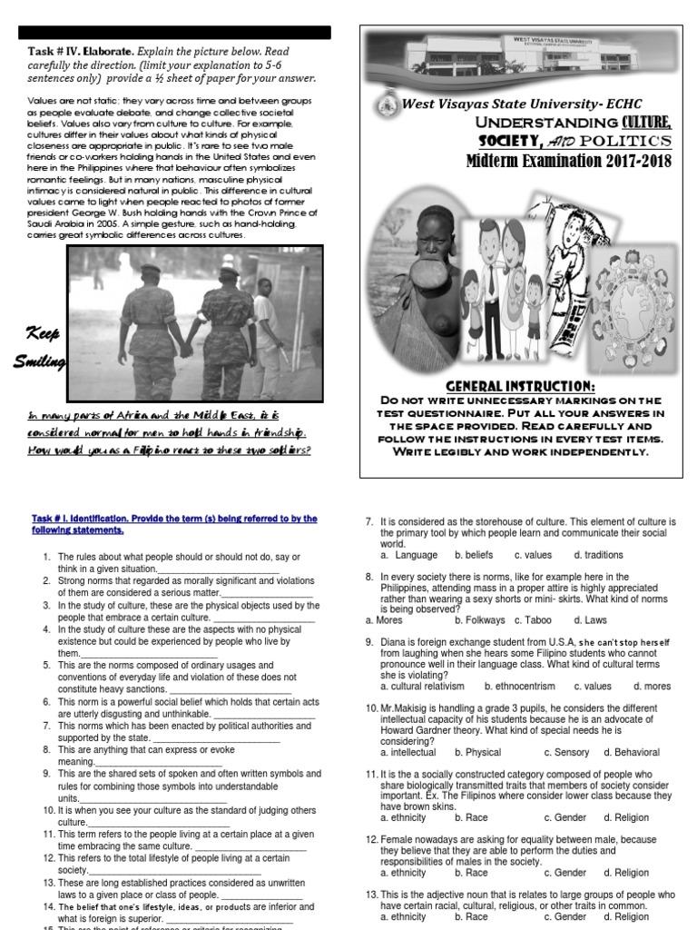 Booklet Midterm Exam for Understanding Culture | Ethnic Groups | Gender