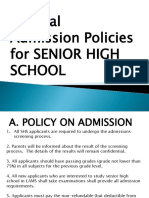 SHS Admission Policies