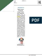 Sigillo di Ateneo al Generale Giorgio Toschi - Il Resto del Carlino del 17 novembre 2017