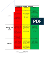 rubric for assessing student diormas