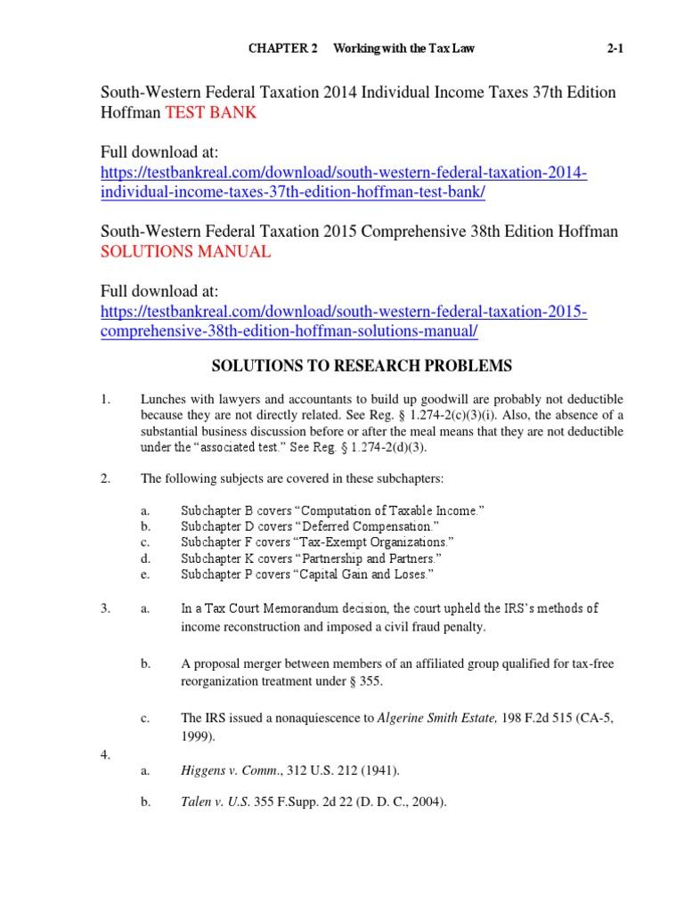 south western federal taxation 2014 individual income taxes 37th rh scribd com Regressive Taxation Federal Taxation Course