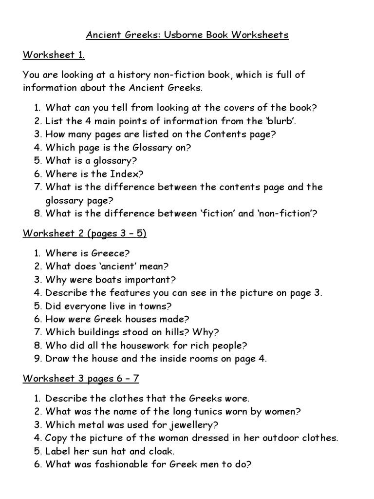 worksheet Ancient Greece Worksheets ancient greeks usborne worksheets athena