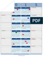 2015 Calendar Portrait Vertical With Notes V1.51 - Start Sunday