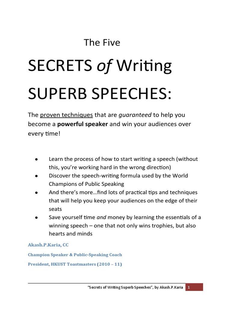 how to begin writing a speech