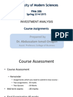 FINA 350 Course Assessments and Topic of Assignment