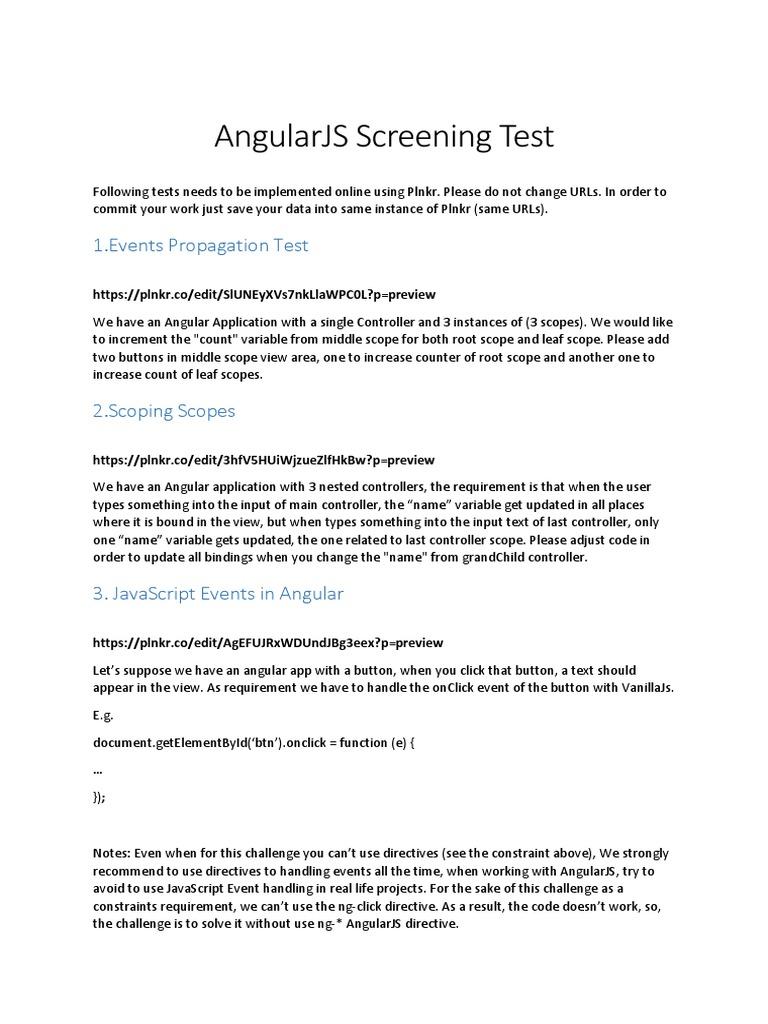 AngularJS Screening Test | Angular Js | Scope (Computer Science)