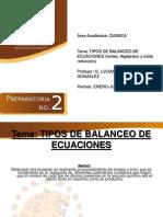 Tipos de Balanceo de Ecuaciones
