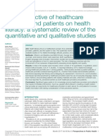 The Perspective of Healthcare Providers and Patients on Health Literacy -A Systematic Review of the Quantitative and Qualitative Studies