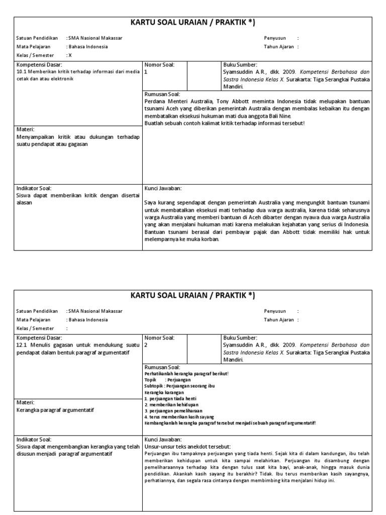 Kartu Soal Uraian Bahasa Indonesia Copy