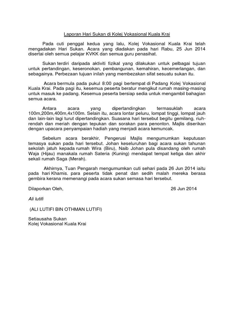 Laporan Hari Sukan Di Kolej Vokasional Kuala Krai