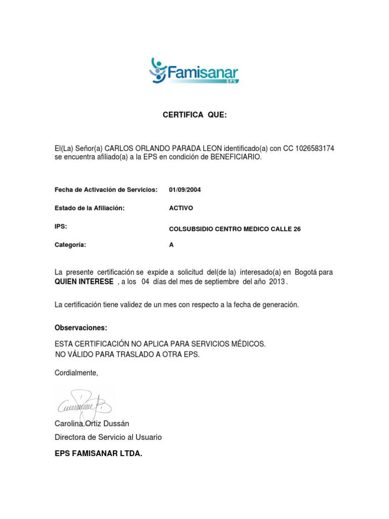 certificado de afiliacion ala eps famisanar