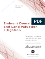 2018 ALI-CLE Eminent Domain and Land Valuation Litigation and Condemnation 101, Charleston, SC, January 25-27, 2018