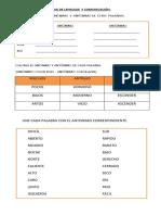 Guia de Lenguaje y Comunicación Sinonimos Antonimos