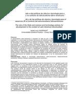 Lourenço, AL. O Papel Do Estado e Das Políticas de Ciência e Tecnologia Para o Desenvolvimento No Contexto Do Estruturalismo Latino-Americano