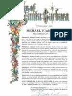 City of Santa Barbara Proclamation of Michael Towbes Day