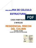 Memoria de Calculo- Residencial Rincon Del Colibri