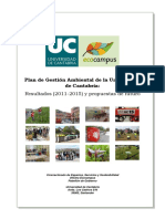 Plan de Gestión Ambiental de La Universidad de Cantabria
