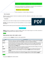 Funciones y Palabras Reservadas de Visual Basic