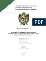 CONOCIMIENTO Y CUMPLIMIENTO DE LAS MADRES DE ADMINISTRACIÓN DE MULTIMICRONUTRIENTES EN NIÑOS(AS) DE 6-36 MESES DEL DISTRITO VISCHONGO – 2017