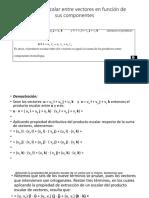 Producto Escalar Entre Vectores en Función de Sus Componentes