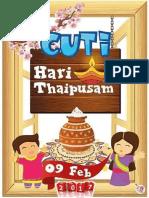 m6 090217 Khamis Cuti Thaipusam
