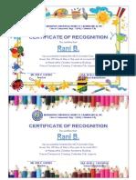 Summer Class Certificate