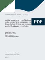 Validez Concurrente y Viabilidad de Pruebas Cortas Comunmente Usadas Para Medir El Desarrollo Infantil Temprano en Estudios a Gran Escala Metodologia y Resultados