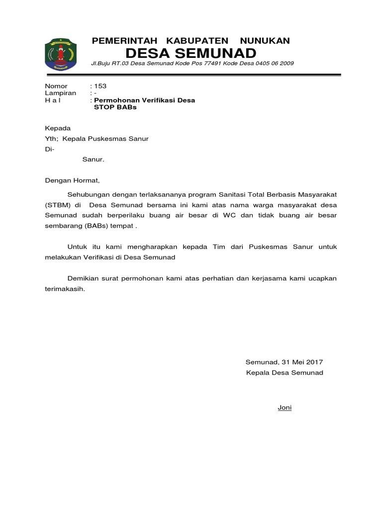 Surat Permohonan Verifikasi Stbm Sanur