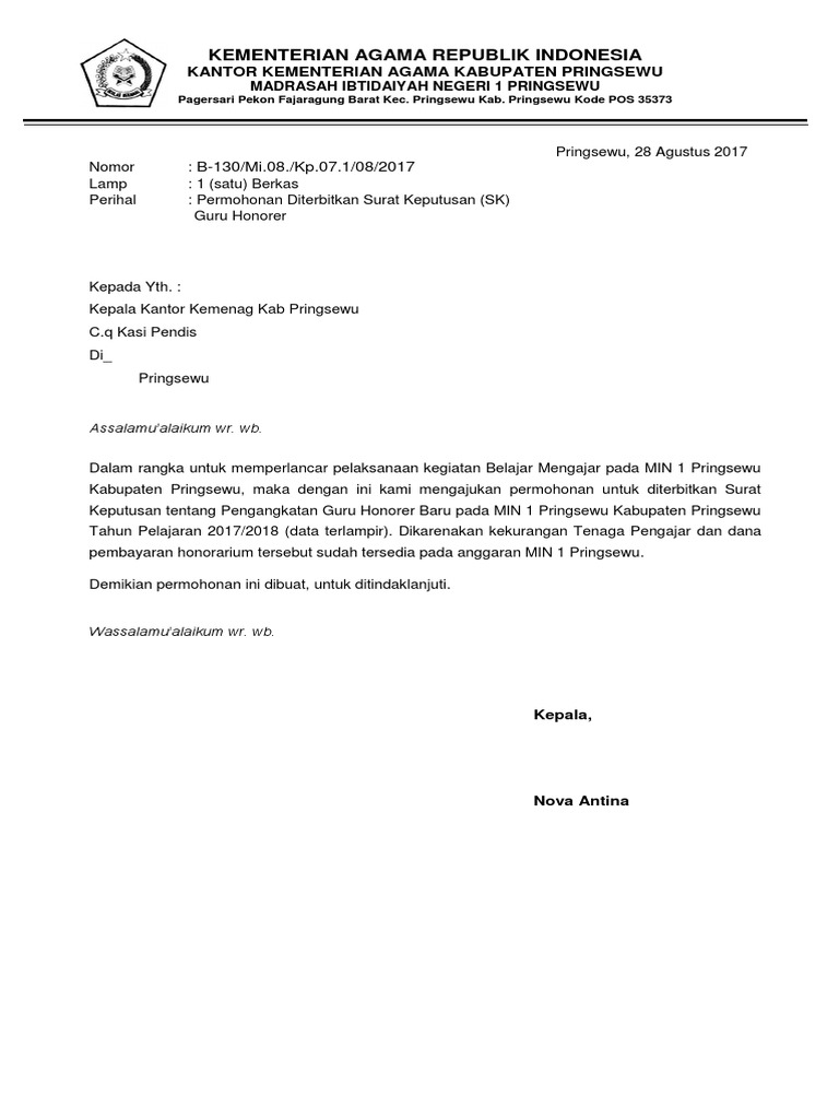 Contoh Surat Pengajuan Nuptk Dari Kepala Sekolah Doc ...