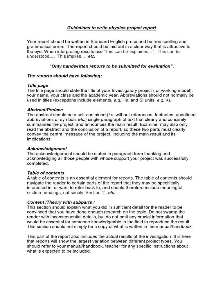 Physics project guidelines 11 abstract summary paragraph falaconquin