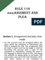 RULE 116 Araignment and Plea