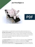 Tipos de Terapia Psicológica o Psicoterapia