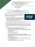 Pengumuman USMB Unsri DIII Dan S1 Alih Program____6190