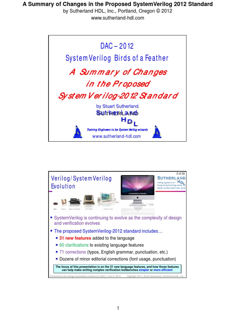 2012-DAC_What-is-new-in-SystemVerilog-2012 pdf | Parameter (Computer