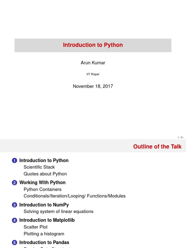 PythonTalk pdf | Python (Programming Language) | Computer Programming