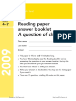 SATs Ks3 English 2009 Reading Answer Booklet